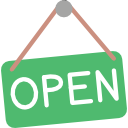 icon image of an open sign