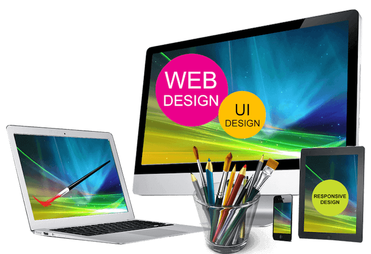 Website design monitor laptop tablet and mobile phone